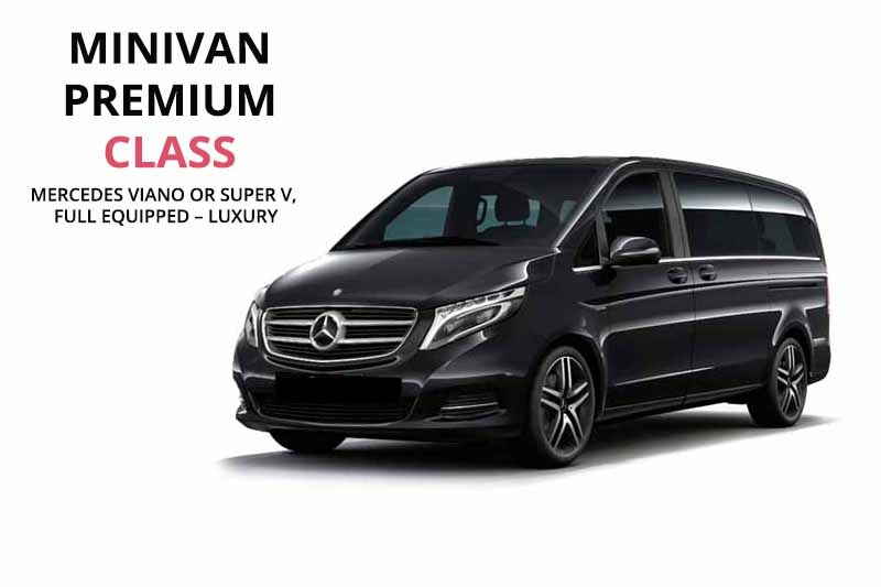 Mercedes viano or super v luxury chauffeured car rental in Greece